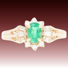 Emerald & Diamond Halo Ring - 14k Yellow Gold Size 6 3/4 Oval .83ctw