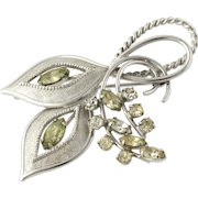Flower Brooch - Sterling Silver 925 Green Clear Rhinestones Estate Floral Pin