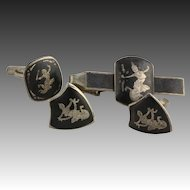 Siam Silver Cuff Links Tie Clip - Sterling Vintage Asian Thai goddess Mekkala