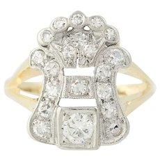 Art Deco Diamond Ring - 14k Gold & Platinum Vintage Round Brilliant .56ctw