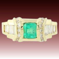 Emerald & Diamond Ring - 18k Yellow Gold Size 6 1/4 Emerald Cut 1.59ctw