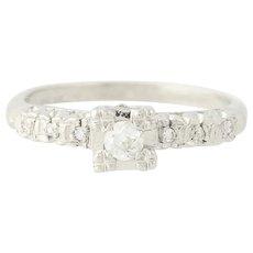 Vintage Diamond Engagement Ring - 900 Platinum Old European Cut .14ctw
