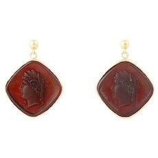 Silhouette Drop Earrings - 14k Gold Brown Glass w/ Molded Ancient Figure Pierced
