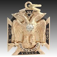 Masonic Fob Vintage Scottish York Rite Shriners - 14k Gold Diamonds Garnets