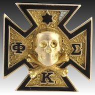 Phi Kappa Sigma Badge - 14k Yellow Gold Polished Estate Fraternity Pin Enamel