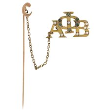 Phi Alpha Beta Vintage Fraternity Badge Pin - 10k Gold Seed Pearl Emerald c1890