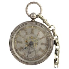 1898 Sterling Pocket Watch Sterling Silver Working Antique Irving Oil Key Wound