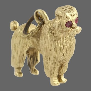 Vintage Gold Poodle Dog Charm Pendant - Genuine 14k Yellow Gold Rubies 3D Detailed