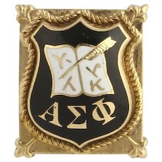 Vintage Alpha Sigma Phi Badge Pin - 14k Solid Yellow Gold Enameled Fraternity