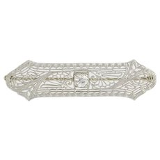Vintage Brooch - 14k White Gold Filigree Designs Glass Stone Elegant Milgrain