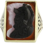 Vintage Art Deco Carved Cameo Ring - 10k Yellow Gold Banded Agate Warrior c.1920