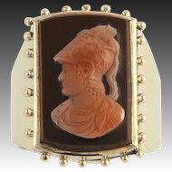 Men's Vintage Cameo Fashion Ring - 14k Yellow Gold Carved Sardonyx Chalcedony