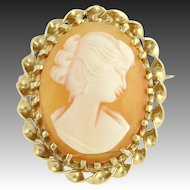 Carved Shell Cameo Brooch Pin - 14k Yellow Gold Genuine Fine Estate Jewelry
