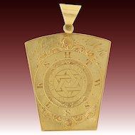 Antique Mark Master Keystone Fob - 18k Yellow Gold York Rite Masonic c.1859