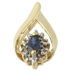 Tear Drop Blue Sapphire Pendant - 10k Yellow White Gold Diamond Accents 0.37ctw