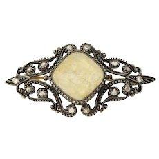 Vintage Georgian Brooch Pin - Sterling Silver & 18k Gold Diamond Quartz c.1840's
