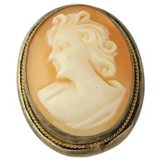 Vintage Carved Shell Cameo Brooch / Pendant - 800 Silver & Gold Filled