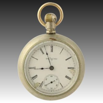 Antique Elgin Pocket Watch - 1902 Open Face 18s 17j Runs Silverode Model 5