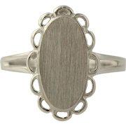 Engravable Cocktail Ring - 10k White Gold Split Shank Women's Fine Estate 5 3/4