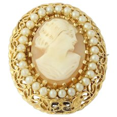 Vintage Cameo Watch Pendant Brooch - Fairfax Women's Carved Shell Time Piece
