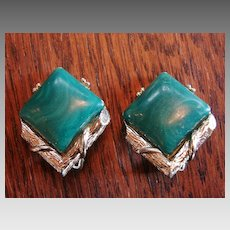 Signed Coro Earrings Costume Malachite Vintage