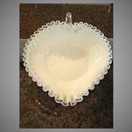 Fenton Silver Crest Bowl Art Glass Heart Nappy Vintage Free Shipping