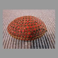 Asian Antique Carnelian Jeweled Egg Trinket Box