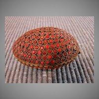 Asian Antique Carnelian Jeweled Egg Trinket Box