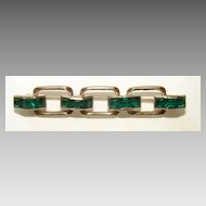 Vintage Emerald Green Baguette Bar Pin Brooch