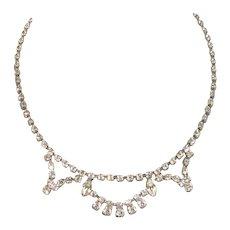 Vintage White Rhinestone Classic Necklace