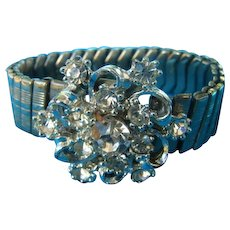 Stunning Vintage White Rhinestone Stretch Bracelet