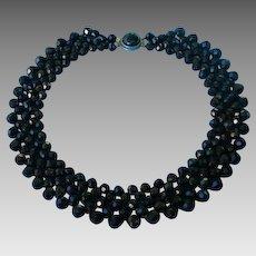Vintage Beaded Black Collar Necklace Choker