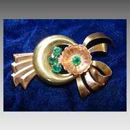 Vintage Gold & Copper Plated Emerald Costume Brooch Pin