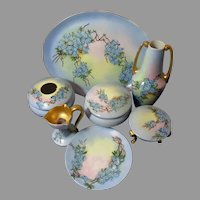 China Painted Vanity Set 7Pc Artist signed Forget Me Not Floral