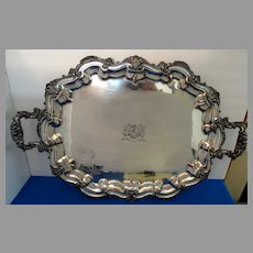 Serving Tray Silver on Copper Sheffield Silverplate Monumental