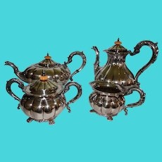 Superb Coffee Tea Set Service George III Sheffield Plate Silver on Copper