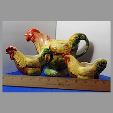 Art Pottery Royal Winton Grimwades Chicken Rooster Hen Tea Set 3Pc