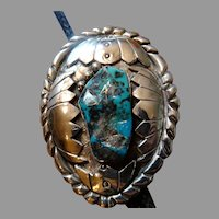 Tested Sterling Silver Turquoise Bolo Tie Monumental