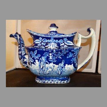 Blue Transferware Teapot Chinoiserie Circa 1850 Antique