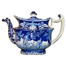 Blue Transferware Teapot Chinoiserie Circa 1850 Antique