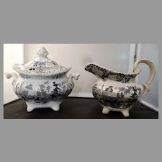 Staffordshire Black Transferware Sugar & Creamer 1840-1850s Antique