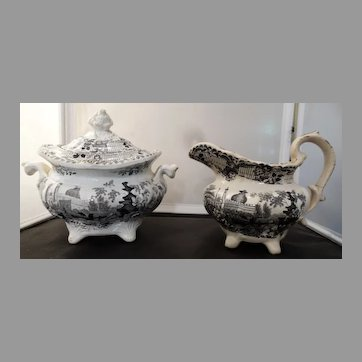 Staffordshire Black Transferware Sugar & Creamer 1840-1850s Antique
