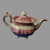 Mulberry Staffordshire Pottery Red Transferware Teapot