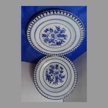 2 Antique Blue Onion Ribbon Plates German