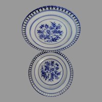 2 Antique Blue Onion Ribbon Plates German