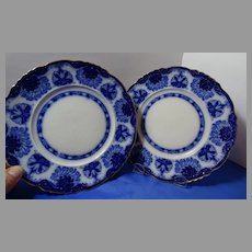 2 Flow Blue Dessert Plates Scarce Baltic Pattern Grindley
