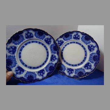 2 Flow Blue Dessert Plates Scarce Baltic Pattern Grindley