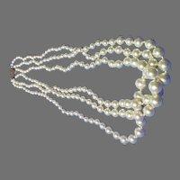 Antique Art Deco Majorica custom Faux Pearl Necklace Sterling Clasp