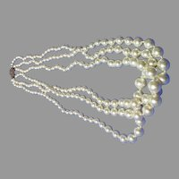 Antique Art Deco Mallorica  custom Faux Pearl Necklace Sterling Clasp