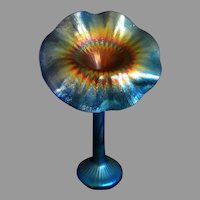 Vintage Lundberg Studio Jack in the Pulpit Vase Blue Iridescent